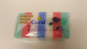 6 x Packs Coral Bath Sponges Packs Of 7 12x8x3CM *42 Sponges In Total*