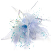 rougecaramel - Accessories Hair Clip Flower, Feather & Beads - Blue