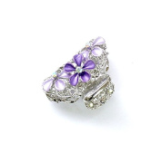 rougecaramel - Crab Metal and Crystal Flower Hair Clip Hair Accessories - Purple