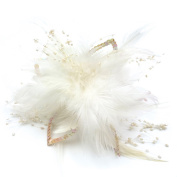 rougecaramel - Accessories Hair Flower Clip with Feather and Beads - Ivory