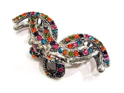 rougecaramel - Crab Metal and Crystal Hair Clip Hair Accessories - Multicolor