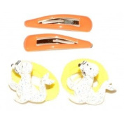 Set of Hair Clips and Elastic - Orange, Animals Seal