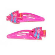 2 Hair clips with Decoration - Pink Fish