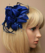 Allsorts® Navy Blue Beaded Feather Fascinator Beak Clip Brooch Pin