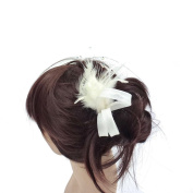 rougecaramel - Accessories - Side Comb Hair Feathers And Beads - Ivory