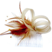 rougecaramel - Accessories - Side Comb Hair Feathers And Beads - Brown