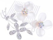 Manufacturer2 Leaf Flower Hair Accessories Crystal Pearl Hair Comb Clips