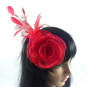 rougecaramel - Sisal - Side Flower Comb Hair Accessories for Wedding Ceremonies - Red