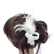 rougecaramel Feathers and Beads - Side Comb Hair Accessories - White