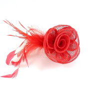 rougecaramel - Sisal - Side Flower Comb Hair Accessories for Wedding Ceremonies - Coral