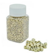 Jiameisi 500 PCS 5mm Blonde Colour Silicone Lined Micro Rings Links Beads Linkies for I Bonded Tipped Hair Extensions