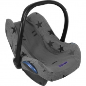 Dooky Infant Car Seat Cover Universal Stylish Protector for Baby Carrier Grey Stars