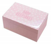 Pink and White Gloss Wood Spotty `Baby Keepsakes` Box