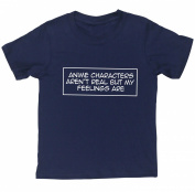 HippoWarehouse Anime characters aren't real but my feelings are kids short sleeve t-shirt