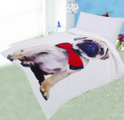 COT BED DUVET COVER WITH PILLOWCASE- SUPERIOR NATURAL COTTON RICH 120 X 150 CM - ELEGANT PUG