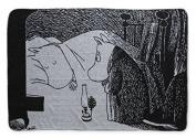 Moomin - Blanket -Night- black and white, 120x65 cm