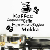 ElecMotive Coffee Cup Kaffee Cappuccino Mokka Lettering Vinyl Wall Art Home Decoration Wall Sticker Decals Mural Art for Office Kitchen Hotel Dining Room Tea Room Pantry Wall Decals