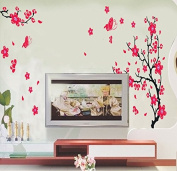 Plum Blossom Flowers Wall Decal Home Sticker Paper Removable Living Dinning Room Bedroom Kitchen Art Picture Murals DIY Stick Girls Boys kids Nursery Baby Playroom Decoration