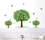 Three Trees Colourful Butterflies Wall Decal Home Sticker Paper Removable Living Dinning Room Bedroom Kitchen Art Picture Murals DIY Stick Girls Boys kids Nursery Baby Playroom Decoration