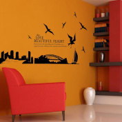 The Beautiful Flight Sydney Harbour Bridge Wall Decal Home Sticker Paper Removable Living Dinning Room Bedroom Kitchen Art Picture Murals DIY Stick Girls Boys kids Nursery Baby Playroom Decoration