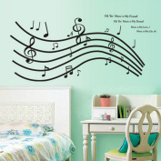 Black Musical Note Wall Decal Home Sticker Paper Removable Living Dinning Room Bedroom Kitchen Art Picture Murals DIY Stick Girls Boys kids Nursery Baby Playroom Decoration