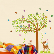 Green Leaves Tree Birds Butterflies Deers Wall Decal Home Sticker Paper Removable Living Dinning Room Bedroom Kitchen Art Picture Murals DIY Stick Girls Boys kids Nursery Baby Playroom Decoration