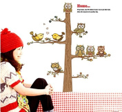 Lovely Owls Birds Tree Wall Decal Home Sticker Paper Removable Living Dinning Room Bedroom Kitchen Art Picture Murals DIY Stick Girls Boys kids Nursery Baby Playroom Decoration