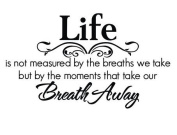 """Life is not measured by the breaths we take, but by the moments that takes our breath away"", Quote Removable Wall Sticker Wall Decal"
