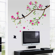 Beautiful Flowers Leaves Branch Birds Wall Decal Home Sticker Paper Removable Living Dinning Room Bedroom Kitchen Art Picture Murals DIY Stick Girls Boys kids Nursery Baby Playroom Decoration