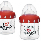 "BIBI SWISS ANTICOLIC WIDE NECK BABY BOTTLE ERGONOMIC 250ML, ""PAPA IS THE BEST"""