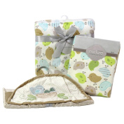Nurture Nesting Birdies Nursery Plush Blanket, Changing Pad Cover and Nappy Stacker Set