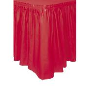Plastic Red Table Skirt, 4.3m