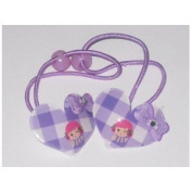 2 with heart and butterfly knot hair rubber bands
