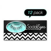 SocialEyes Glamorous Lashes Natural Fake False Eyelashes Eye Lashes 12 Packs