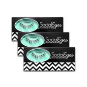SocialEyes Glamorous Lashes Natural Fake False Eyelashes Eye Lashes 3 Packs