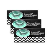SocialEyes Ravishing Lashes Thick Natural False Eyelashes Eye Lashes 3 Packs