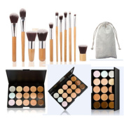 Tonsee 15 Colours Face Concealer Camouflage Cream Contour Palette 11PC Bamboo Brush Set