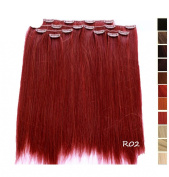 Prettyland K170 -7 piece Clip-In Straight Extensions Set 50cm 20 inch - R02 intensive RED