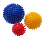 FiNeWaY@ NEW SET OF 3 SPIKY MASSAGE BALLS STRESS REFLEXOLOGY 6cm, 8cm & 10cm EXERCISE