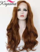 K'ryssma Natural Looking Brown Wavy Long Synthetic Hair Best Lace Front Wigs for Women Half Hand Tied Heat Resistant Fibre 60cm