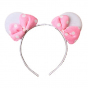 White Mouse Ears with Pink Spot Bow Alice Hair Band Headband Fancy Dress Party Hen