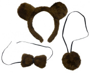 Brown Bear Ears Tail & Dickie Bow Set Fancy Dress Headband