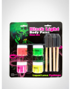 Halloween Black Light Body Paint UV Liquid Latex Kit - Set Of 4