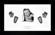 BabyRice Baby Casting Kit / 37cm x 22cm Black Frame / White 4 Hole Mount / White Backing / Pewter Paint