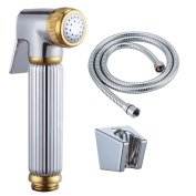KES LP904 Toilet Hand Held BRASS Bidet Shattaf Cloth Nappy Sprayer with 150cm Extra Long Hose and Bracket Holder, Chrome