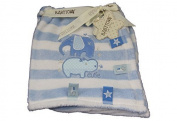 New Blue Elephant & Hippo Taggie Pram Blanket 75 cm by 100 cm - Baby Boy