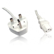 UK Standard IEC c13 to 3 Pin UK Mains Plug Lead, 1.8m 6ft - WHITE