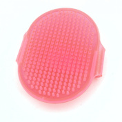 Pet Dog Grooming Bath Massage Rubber Glove Hair Brush Comb Clear Pink