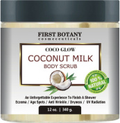 100% Natural Coconut Milk Body Polish 350ml With Dead Sea Salt and Vitamin E. Powerful Body Scrub Exfoliator and Daily Moisturiser For All Skin Types