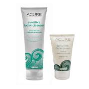 Acure Organics Pumpkin + Argan Oil Sensitive Facial Cleanser & Facial Cream Bundle with All Natural Organic Probiotics, Coq10, Omega Fatty Acids and Argan Stem Cells, 120ml And 50ml